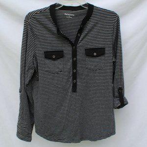 Women's Relativity Black Striped Button Front Sz L